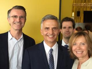 Bundesrat Didier Burkhalter mit den NR Kandidaten Ursula Gross Leemann und Kaspar Huggenberg