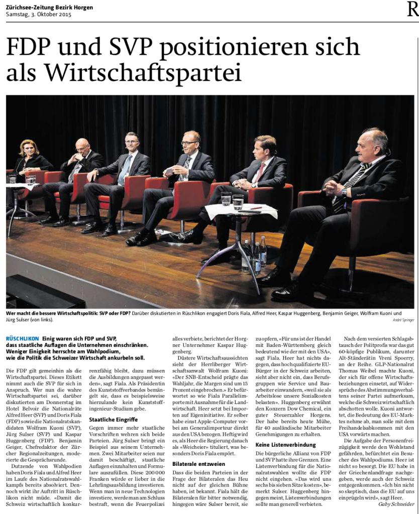 Wer macht die bessere Wirtschaftspolitik: SVP oder FDP? Darüber diskutierten in Rüschlikon engagiert Doris Fiala, Alfred Heer, Kaspar Huggenberg, Benjamin Geiger, Wolfram Kuoni und Jürg Sulser